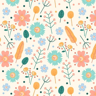 Bloemenpatroon pack pastelkleuren thema