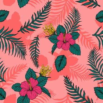 Bloemenpatroon tropische bladeren hand tekenen vintage design