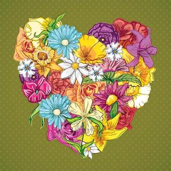 Bloemenpictogrammen (mijn hart bloeide) op uitstekende achtergrond