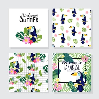 Bloemenposters in tropische stijl met exotische bladeren, toekan, bloemen. kan worden gebruikt voor kaarten, posters, uitnodigingen, flyers. vector illustratie