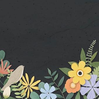 Bloemenrand op een zwarte achtergrond