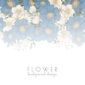 Bloemenrand sjabloon - blauwe bloemen