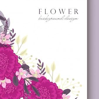 Bloemenrand sjabloon hete roze bloemen