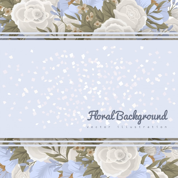 Bloemenrand sjabloon - lichtblauwe bloemen