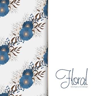 Bloemenrand tekening - blauwe bloemen