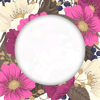Bloemenrand tekening - hete roze bloem