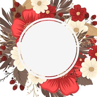Bloemenrand tekening - rood kader