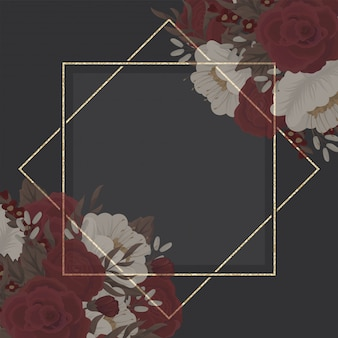 Bloemenrandtekening - rood kader