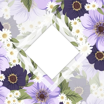 Bloemenrandtekening wit en zwart