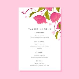 Bloemenrestaurantmenu voor valentijnsdag