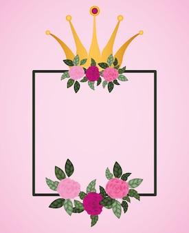 Bloemenrozen met koningkroondecoratie