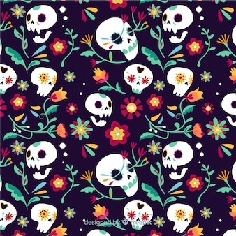Bloemenschedels día de muertos patroon