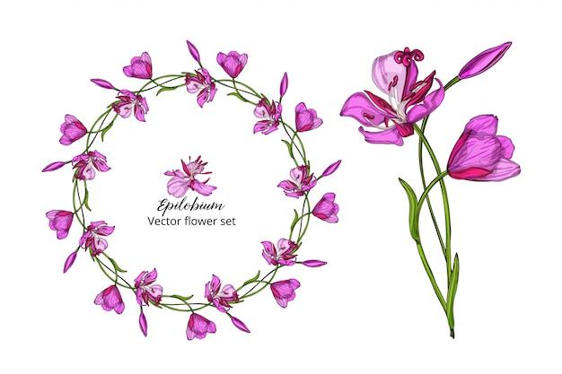 Bloemenset, met roze delicate bloemen