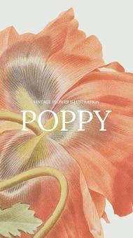 Bloemensjabloon met papaverachtergrond, geremixt van kunstwerken uit het publieke domein