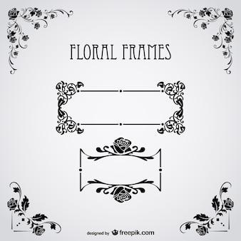 Bloementeksten frames gratis vector