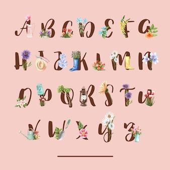 Bloementuin alfabet met tulp, daisy, mullein, gerbera aquarel illustratie.