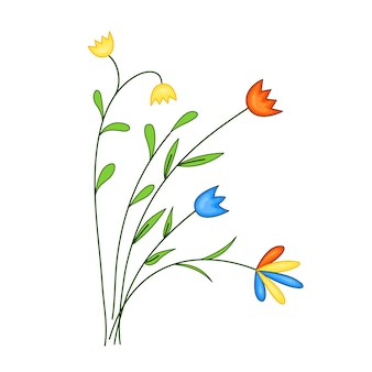 Bloemenveld, een boeket bloemen in een schattige cartoonstijl. vectorillustratie geïsoleerd op een witte achtergrond.