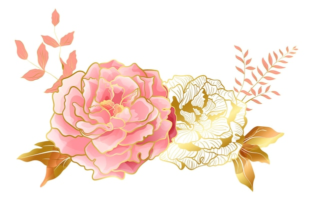 Bloemenvignet met zachtroze en gouden pioenrozenbloemen. botanische elegantie decor voor bruiloften en romantische feesten, voor het ontwerp van cosmetica of parfum