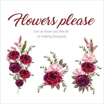 Bloemenwijnboeket met roos, antigonon-waterverfillustratie.