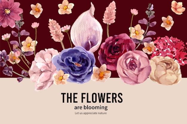 Bloemenwijnkader met anthurium, alliumbollen, waterverfillustratie.