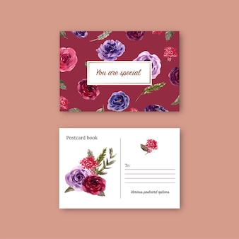 Bloemenwijnprentbriefkaar met roos, waterverfillustratie.