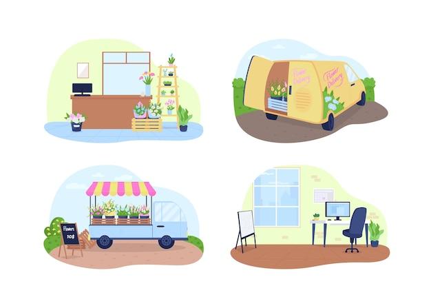 Bloemenwinkel, bloemen bezorgservice 2d vector webbanner, poster set. madeliefjes, rozen in vazen plat landschap op cartoon achtergrond. koop een printbare patch voor boeketten, kleurrijke webelementencollectie