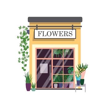Bloemenwinkel egale kleur illustratie