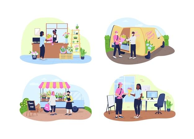Bloemenwinkel en bezorgservice 2d vector webbanner, poster set. afro-amerikaanse, blanke, moslim platte karakters op cartoon achtergrond. afdrukbare patch voor bloemisten, kleurrijke collectie webelementen