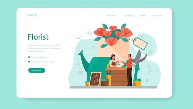 Bloemenwinkel en bloemist webbanner of bestemmingspagina-concept Premium Vector