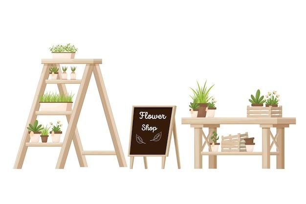 Bloemenwinkel houten meubelwinkel apparatuur met rekken ladder bureau en reclamebord