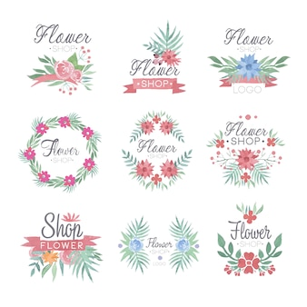 Bloemenwinkel logo ontwerpset van kleurrijke aquarel illustraties
