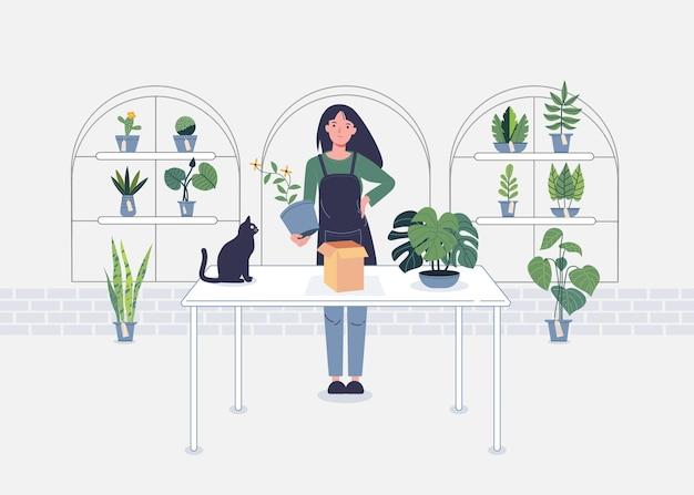Bloemenwinkel moderne cartoon vrouw tekens vectorillustratie op wit