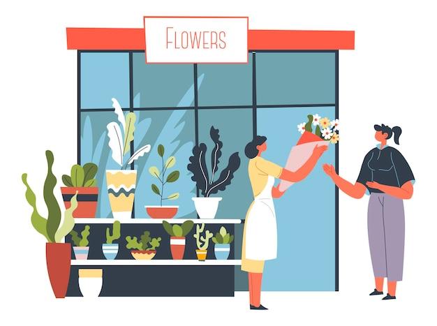 Bloemenwinkel straatkraam met boeketten en flora
