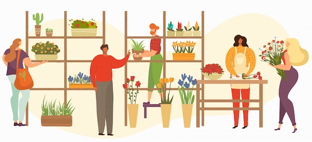 Bloemenwinkelverkoop, bloemist of vrouwelijke verkoper met boeketten, kamerplanten en ingemaakte bloemenillustratie.