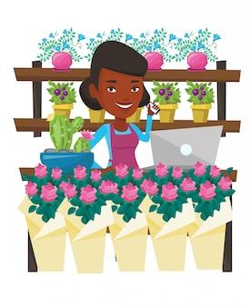 Bloemist bij bloemenwinkel illustratie.