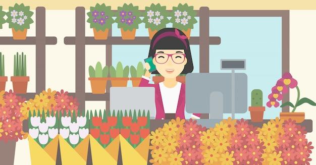 Bloemist bij bloemenwinkel vectorillustratie.
