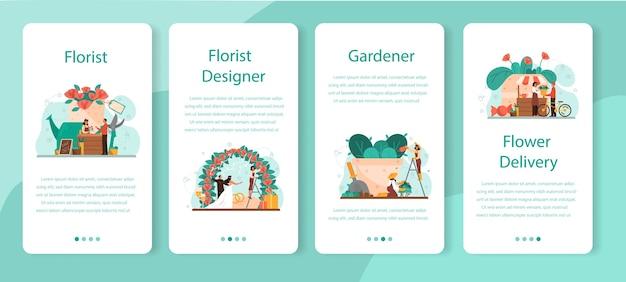 Bloemist concept mobiele applicatie banner set. creatieve bezetting in bloemenboetiek. event bloemist er. bloemen bezorgen en tuinieren. floristische zaken.