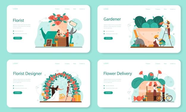 Bloemist concept webbanner of bestemmingspagina set. creatieve bezetting in bloemenboetiek. event bloemist er. bloemen bezorgen en tuinieren. floristische zaken.