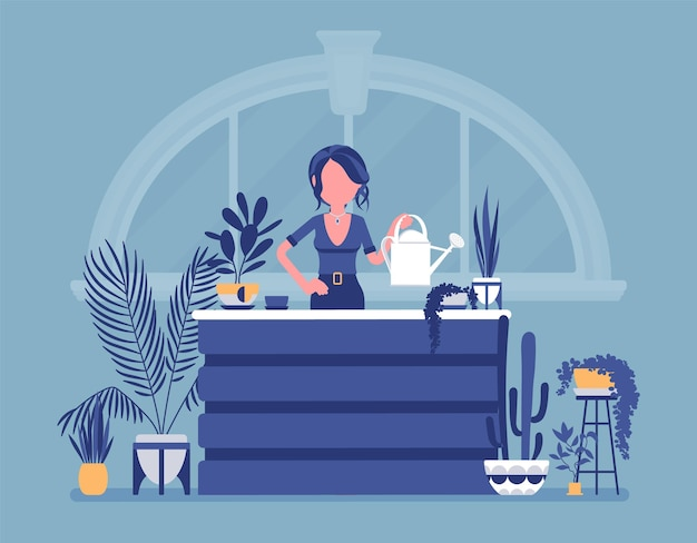 Bloemist dame verkoopt kweekt sierplanten voor thuis