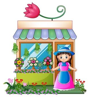 Bloemist meisje in de bloemenwinkel