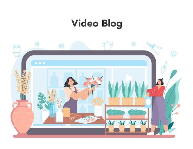 Bloemist online service of platform. bloemenontwerper die boeket maakt Premium Vector