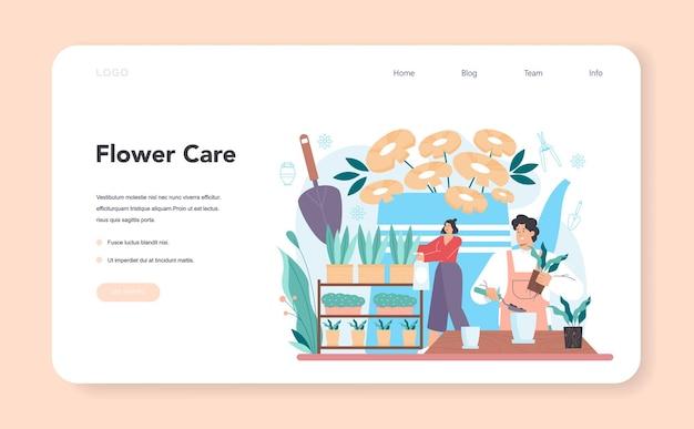 Bloemist webbanner of bestemmingspagina. floral designer boeket maken voor klant en evenementen. creatieve bezigheid in bloemenwinkel. bloemisterij. platte vectorillustratie