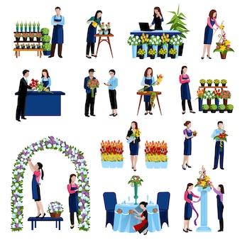 Bloemisten regelen snijbloemen en decoreren huwelijksboog