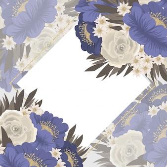 Bloemkader blauwe bloemen