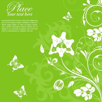 Bloemkader met vlinder, element voor ontwerp, vectorillustratie