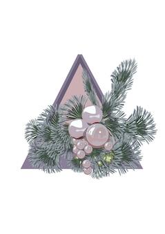 Bloemkerstcompositie in een driehoek van dennentakken en kerstboomversieringen