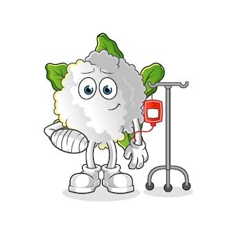 Bloemkool ziek in iv illustratie