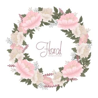 Bloemkransen die roze bloemenkaart trekken