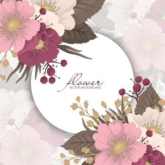 Bloemkransen tekening - roze ronde frame met bloemen