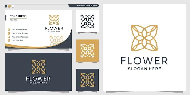 Bloemlogo met minimalistisch concept lijnstijl en ontwerpsjabloon voor visitekaartjes